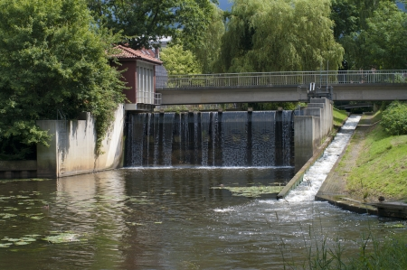 sluice: small sluice in the center of Nordhorn, Germany Stock Photo