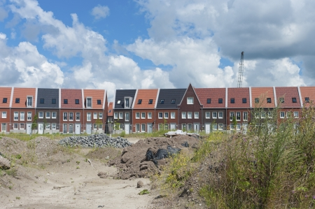 newly build modern houses in Almere, Netherlands