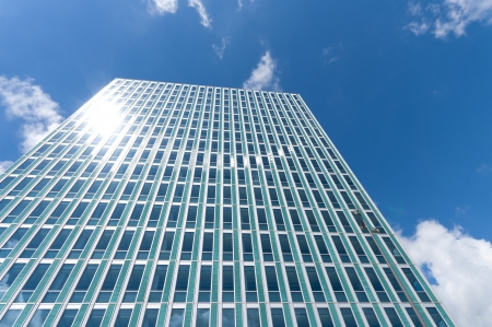 megapolis: facade of a modern skyscraper in Almere, Netherlands Stock Photo