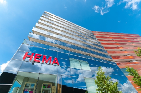 modern facade of HEMA department store in Almere, Netherlands. From origin Dutch, Hema has over 600 branches in 5 countries and more than 10,000 employees. Editorial