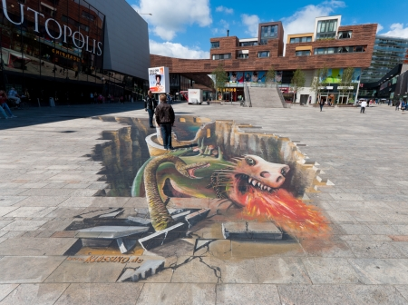 illusionary: 3d illusionary painting in the center of Almere, netherlands.  Editorial
