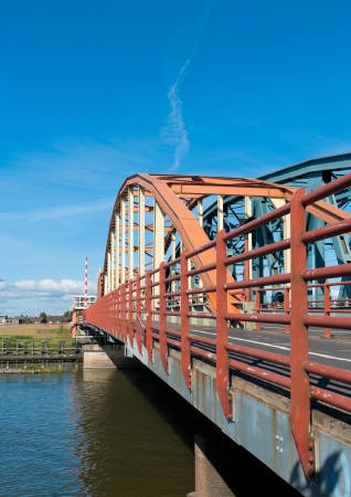 bridge construction: Double arch bridge over the IJssel river in Zutphen Stock Photo