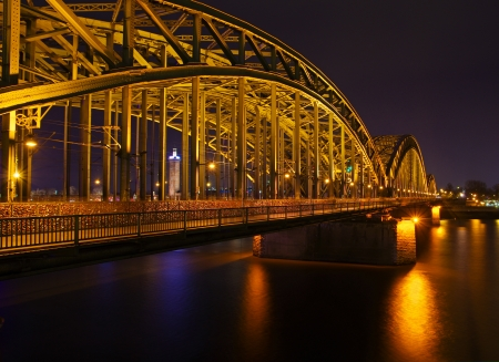 Hohenzollern Rhine bridge in Cologne at night