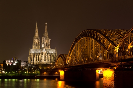 Hohenzollern bridge leading to the famous Cologne gothic cathedral