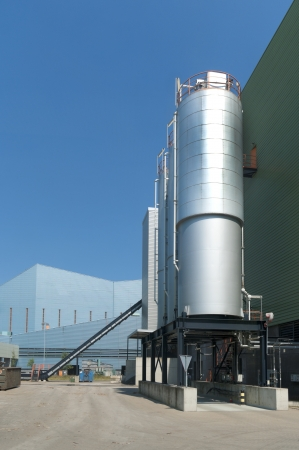 industrial silos at a waste treatment factory photo