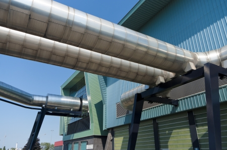 exterior of a modern waste treatment plant with pipes Stock Photo - 16781781