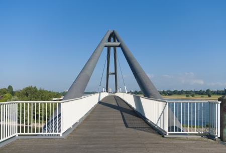 modern abstract footbridge at the parlamentsufer in Dusseldorf, Germany Stock Photo - 17006943