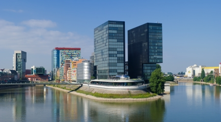 postmodern: Media Harbor in Dusseldorf, Germany  After the Mannesmann company had discontinued its tube production in D�sseldorf, it has lost its glory  Nowadays the Hafen district itself contains some spectacular post-modern architecture Editorial