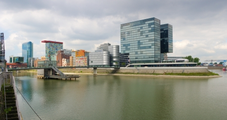 prominent: View on Düsseldorf Medienhafen (Media Harbor), the redeveloped port of Düsseldorf with several prominent architectural constructions