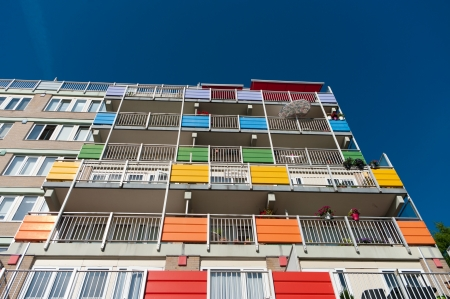 exterior of a modern retirement apartment building with colorful balconies Stock Photo - 17118519