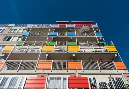 exterior of a modern retirement apartment building with colorful balconies Stock Photo - 17118518