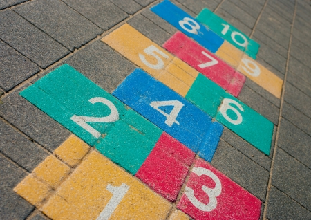 colorful hopscotch game on a schoolyard photo
