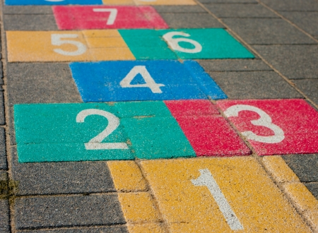 schoolyard: colorful hopscotch game on a schoolyard