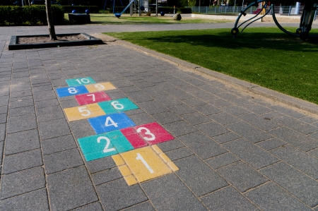 colorful hopscotch game on a schoolyard