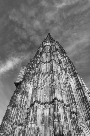 upper part of the famous cologne cathedral being renovated photo
