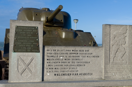 winning location: landing memorial monument in Westkapelle, Netherlands. It is a remembrance of the liberation of the island Walcheren by the British Liberation Army, who landed here november 1, 1944.
