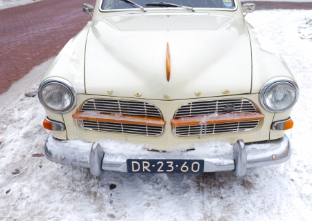 classic volvo amazone 122s stationcar in cold weather