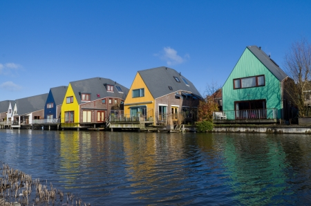 almere: colorful houses at the island district, Almere, the youngest city in the Netherlands