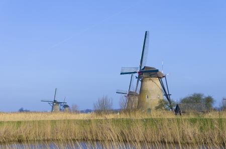 Dutch windmills in Kinderdijk, Netherlands.  photo