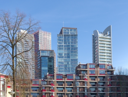 rotterdam: modern apartments in front of skyscrapers in Rotterdam, Netherlands