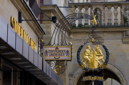 typical sign on a german pub in muenster  Dortmunder beer was a long time the most popular beer among the Ruhrgebiet industrial workers  But around 1970 it lost its popularity against the Pilsener beer