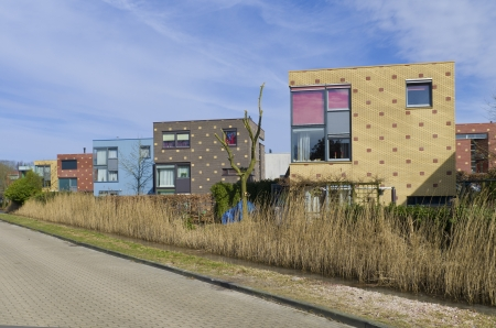 newly build modern colorful houses in enschede, netherlands