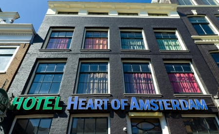 exterior of budget hostel heart of amsterdam  It,s a newly renovated hostel which is inspired from the fantasy world of movies  Located in the red light district