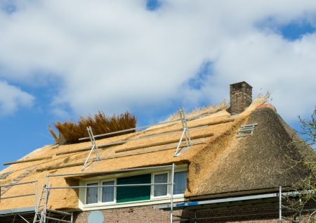 thatcher: making a new thatched roof