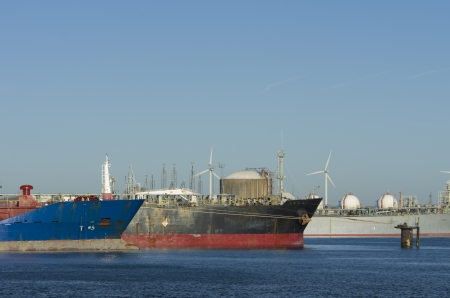 freeport: two large ships moored in the rotterdam harbor