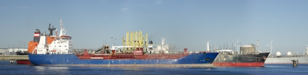 freeport: panoramic view of large cargo ships in the rotterdam harbor