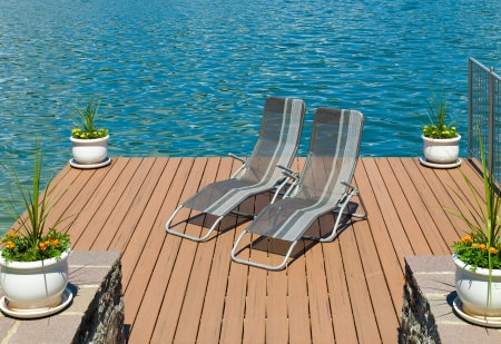 calm chaise pair of lounge chairs on a wooden pier in velden am worthersee in calm chaise lounge chairs