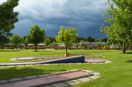 mini golf park on a camping site in Italy photo