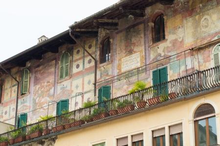 mediaval: mediaval fresco wall in Verona, Italy Stock Photo
