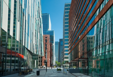 The amsterdam Zuidas (South Axis) business district. The area is known as an international high level knowledge and business center with over 450 mostly international orientated companies.