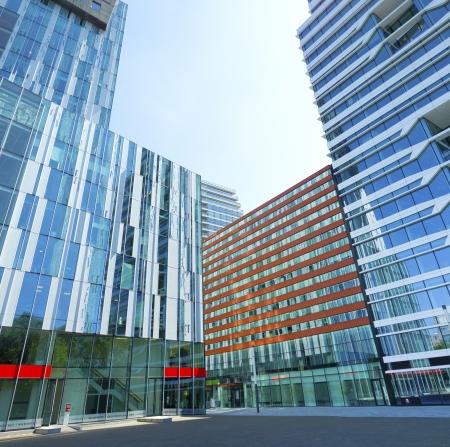 El amsterdam Zuidas (South Axis) distrito financiero. La zona es conocida como un conocimiento de alto nivel internacional y centro de negocios con más de 450 empresas orientadas en su mayoría internacionales. Foto de archivo - 23891856