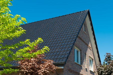 brand new roof top with dark tiles photo