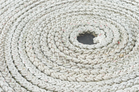 coiled rope on a boat deck photo