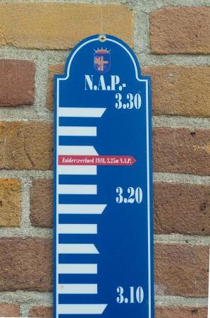 water measuring scale with the water level marked from the famous 1916 Zuiderzee flood photo