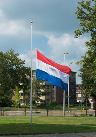 half mast dutch flag photo