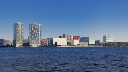 almere: skyline of Almere, Netherlands. Almere is the youngest and fastest growing city in the country, founded around 1975