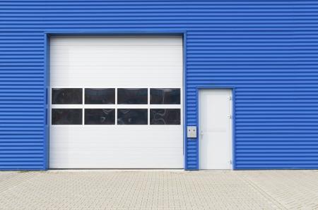 facade of a modern blue warehouse
