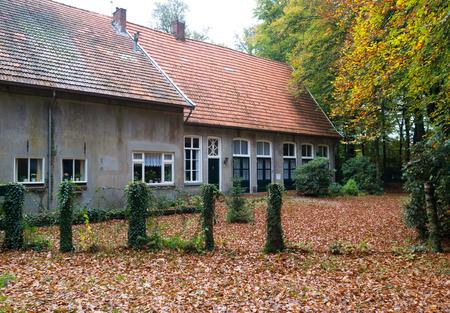 exterior of a typical dutch farm house in autumn season
