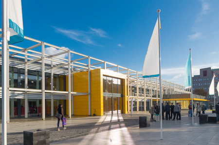 modern entrance of the Landstede secondary school in zwolle, netherlands