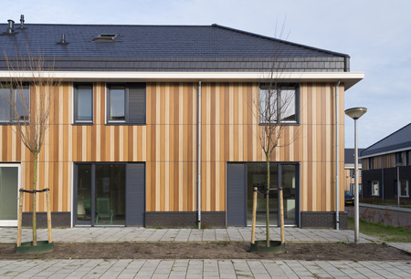 newly build row of modern townhouses in enschede, netherlands photo