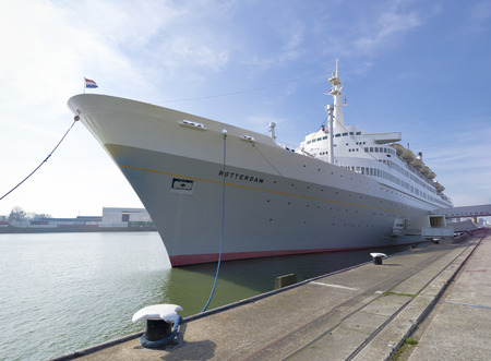 ss: The 228 meter SS Rotterdam, former flagship of the Holland-America line. Out of service since 2008, it features a restaurant, theater, meeting rooms, and a hotel. Editorial