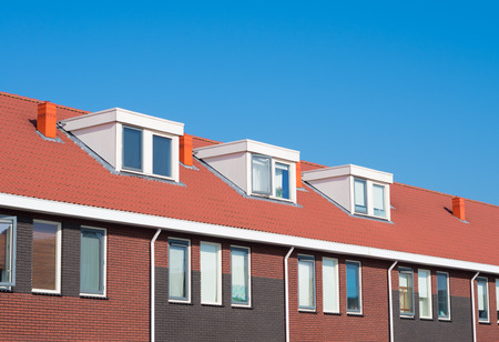 newly build terraced houses with dormer windows Stock Photo