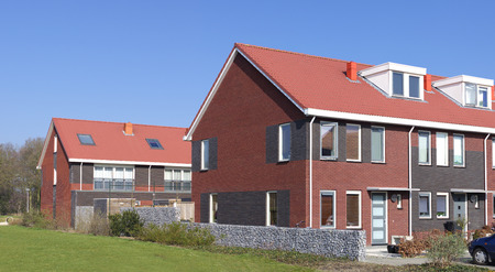 blocks of new terraced houses in the netherlands photo