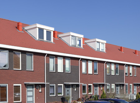 newly build terraced houses with dormer windows Standard-Bild