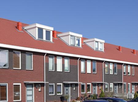 newly build terraced houses with dormer windows Stock Photo