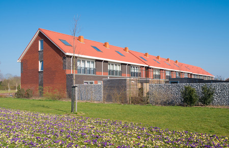 block of new terraced houses in the netherlands photo